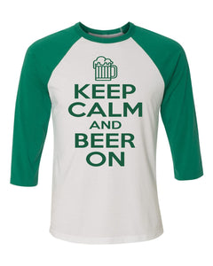 Pub Crawl KEEP CALM - Bella Canvas 3/4 Sleeve Raglan -  3200