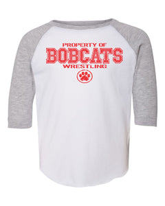 Brookings HS Wrestling - Toddler Baseball Fine Jersey Tee - 3330 - Design BHS01 (White/ Vintage Heather)