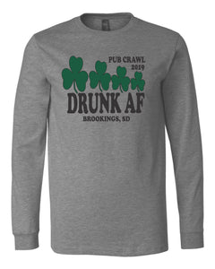 Pub Crawl Drunk AF - Bella Canvas Long Sleeve Tee Shirt - 3501
