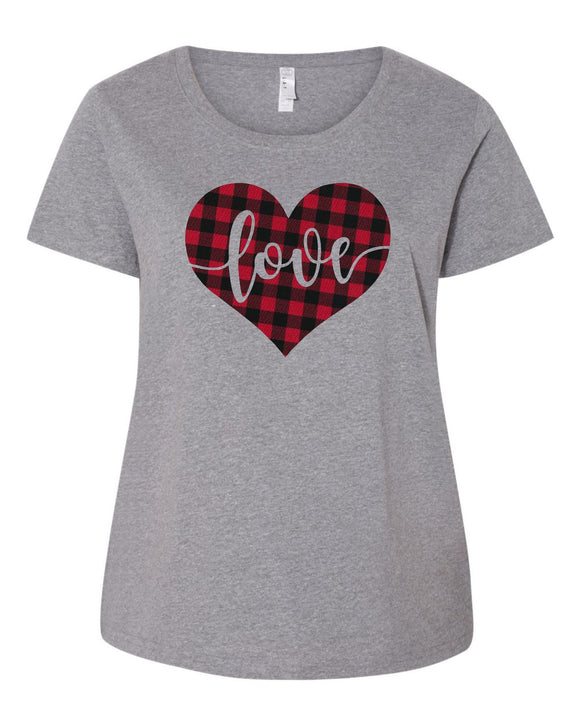 Valentines Day - Heart Love Buffalo Plaid - LAT - Curvy Collection Women's Scoopneck Premium Jersey Tee - 3804