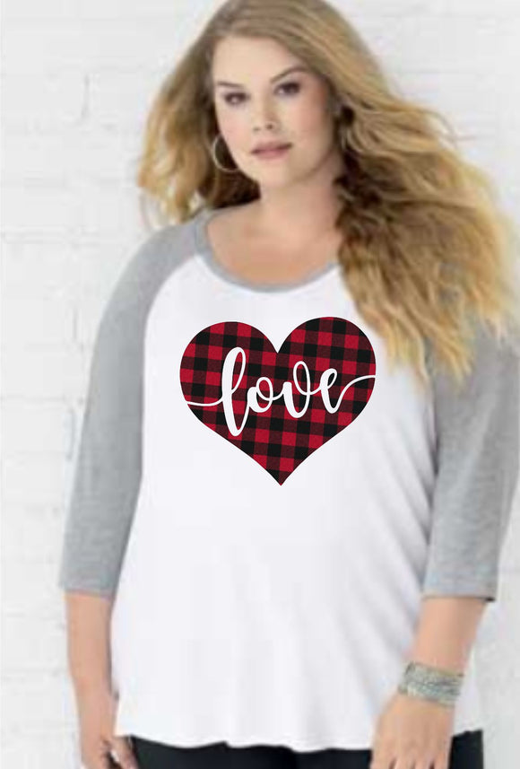 Valentines Day - Heart Love Buffalo Plaid - LAT - Curvy Collection Women's Baseball Tee - 3830