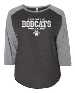 Bobcat Wrestling Curvy Collection Women's Baseball Tee - 3830 - Design BHS01