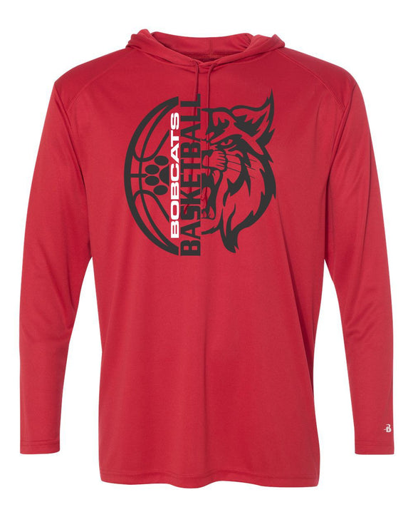 Brookings Bobcat Basketball B-Core Adult Long Sleeve Hooded T-Shirt - 4105 - Design BB006