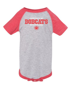 Brookings HS Wrestling - Infant Baseball Fine Jersey Bodysuit - 4430 - Design BHS01 (Vintage Heather/ Vintage Red)