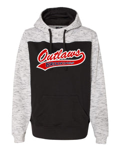 Outlaw Softball - UNISEX ADULT - J. America - Melange Fleece Colorblocked Hooded Pullover - 8676