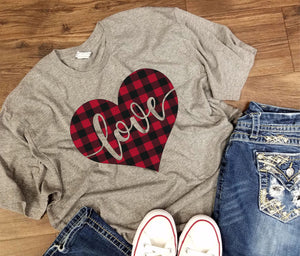 Valentines Day - Heart Love Buffalo Plaid - LAT - Adult Fine Jersey Tee - 6901