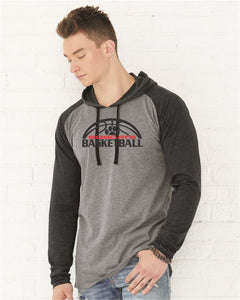 Brookings Bobcat Basketball - LAT - Fine Jersey Long Sleeve Hooded Raglan T-Shirt - 6917 - DESIGN BB007