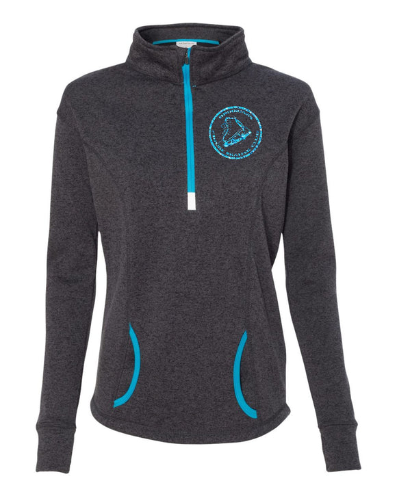 Brookings Figure Skating - J. America - Women's Cosmic Fleece Quarter-Zip Pullover - 8617