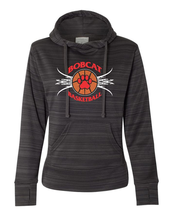 Brookings Bobcat Basketball Women's Odyssey Striped Performance Fleece Lapover Hooded Sweatshirt - 8662 - Design BB005