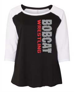 Bobcat Wrestling Curvy Collection Women's Baseball Tee - 3830 - Design 1002