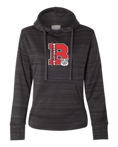 Bobcat Wrestling Women's Odyssey Striped Performance Fleece Lapover Hooded Sweatshirt - 8662 - Design 1001