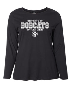 Bobcat Wrestling Women's Long Sleeve T-Shirt - JMS40- Design BHS01