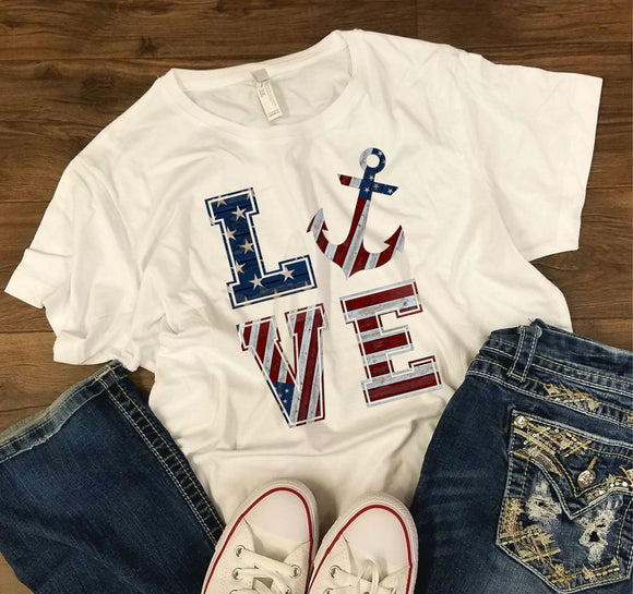 WOMENS Love with Anchor -  4th of July/Patriotic Shirt - Bella + Canvas - Bella + Canvas - Women's Relaxed Short Sleeve Jersey Tee - 6400