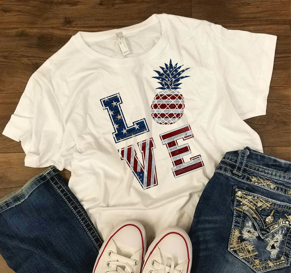 WOMENS Love Pineapple -  4th of July/Patriotic Shirt - Bella + Canvas - Bella + Canvas - Women's Relaxed Short Sleeve Jersey Tee - 6400