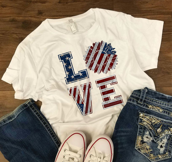 WOMENS Loves Sunflower -  4th of July/Patriotic Shirt - Bella + Canvas - Women's Relaxed Short Sleeve Jersey Tee - 6400