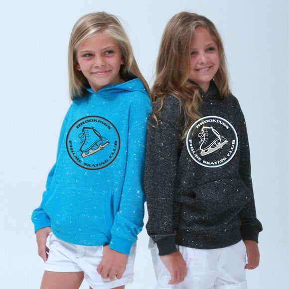 ****AMAZING SPARKLE in this HOODIE**** Brookings Figure Skating Club - Youth Glitter French Terry Hooded Pullover - 8606