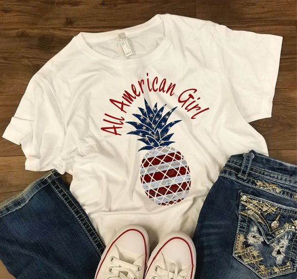 WOMENS All American Girl -  4th of July/Patriotic Shirt - Bella + Canvas - Women's Relaxed Short Sleeve Jersey Tee - 6400
