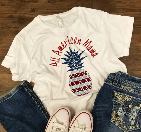 WOMENS All American Mama -  4th of July/Patriotic Shirt - Bella + Canvas - Women's Relaxed Short Sleeve Jersey Tee - 6400