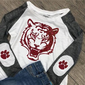 Preppy Patch Harrisburg Tiger Long Sleeved Shirt - ALL GLITTER PRINT