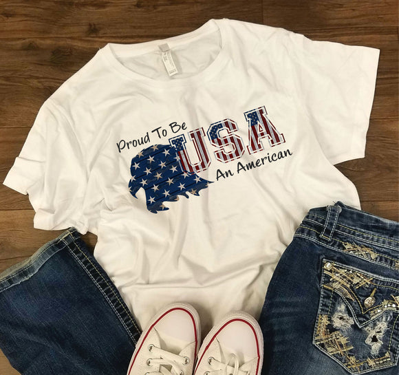 UNISEX FIT Proud American -  4th of July/Patriotic Shirt - Bella + Canvas - Unisex Short Sleeve Heather Jersey Tee - 3001CVC