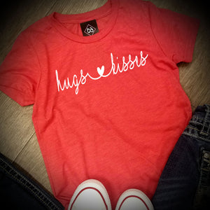 Valentines Day - Hugs & Kisses - LAT - Youth Fine Jersey T-Shirt - 6101
