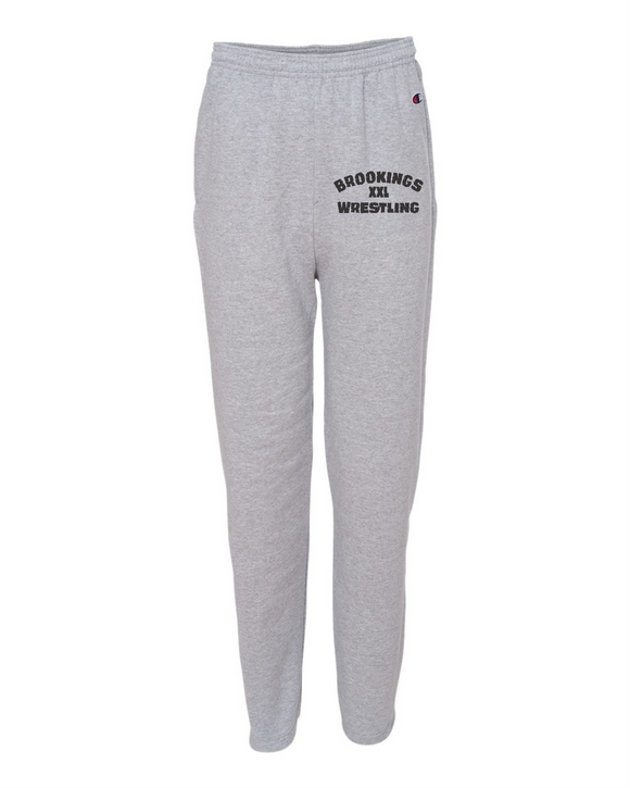 Brookings HS Wrestling Badger - Double Dry Eco Open Bottom Sweatpants with Pockets - Adult P800 Youth P890