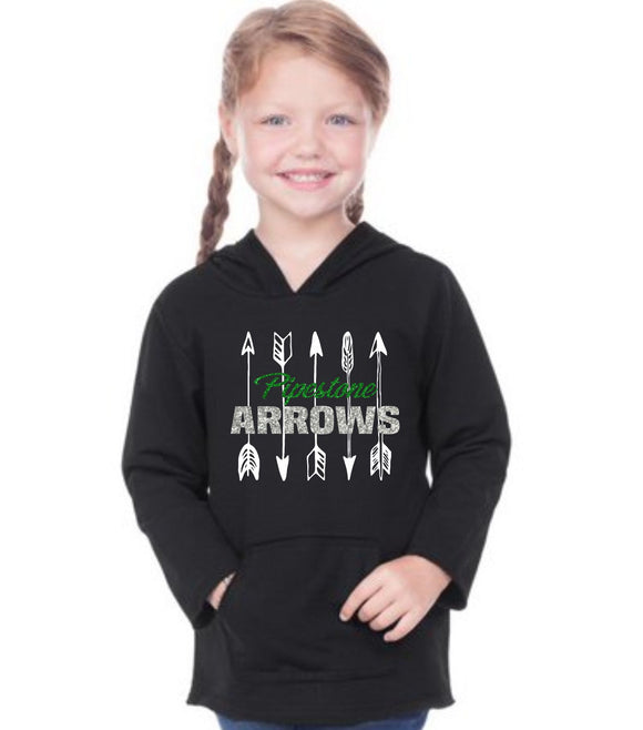 GLITTER Pipestone Arrow TODDLER Football Long Sleeved Hooded Tee - PHS01