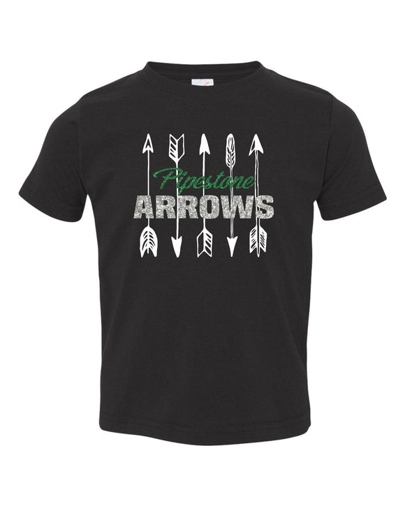 GLITTER Pipestone Arrow TODDLER Short  Sleeved Black Tee Shirt - #3321