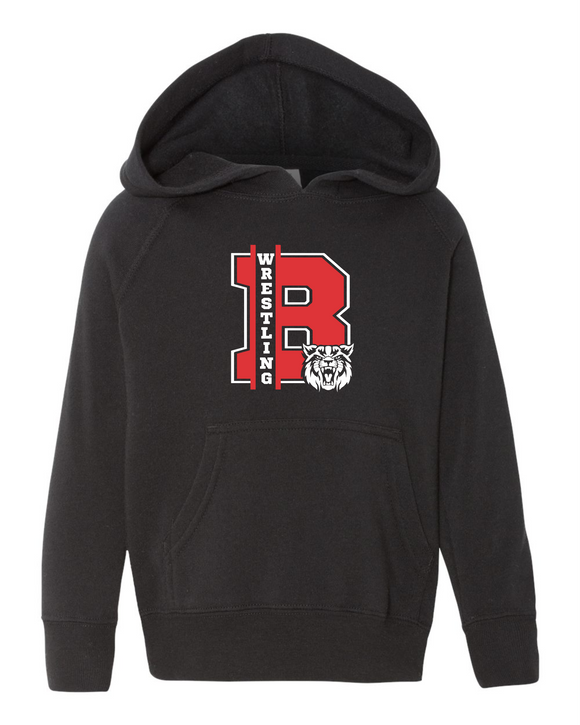 Bobcat Wrestling Toddler Special Blend Raglan Hooded Pullover Sweatshirt - PRM10TSB - Design 1001