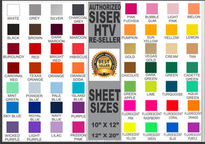 "Siser Easyweed HTV 10"" x 12"" Sheet - Heat Transfer Vinyl by the Sheet"