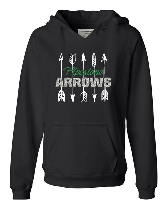 GLITTER Pipestone Arrows Womens Hooded Pullover - J. America - Women's Sueded V-Neck Hooded Sweatshirt - 8836