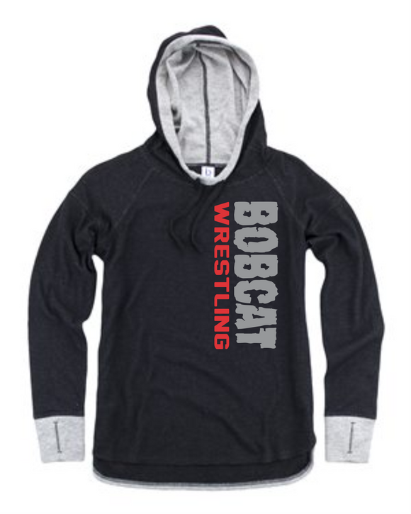 Bobcat Wrestling Womens Cool Down Hoodie - S40 - Design 1002
