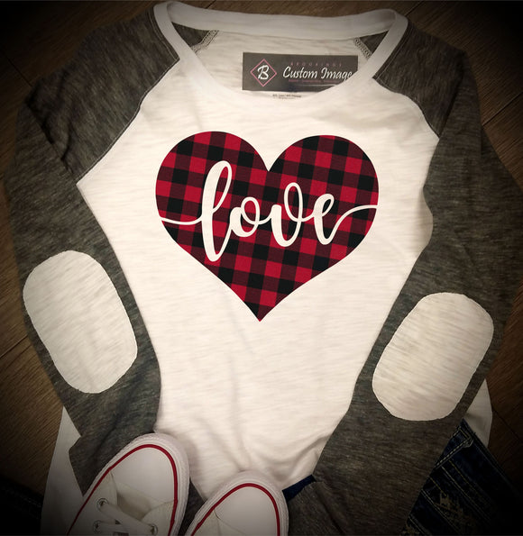 Valentines Day - Heart Love Buffalo Plaid - Boxercraft - Youth Preppy Patch Jersey - YT66