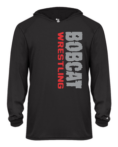 Bobcat Wrestling B-Core Adult Long Sleeve Hooded T-Shirt - 4105 - Design 1002