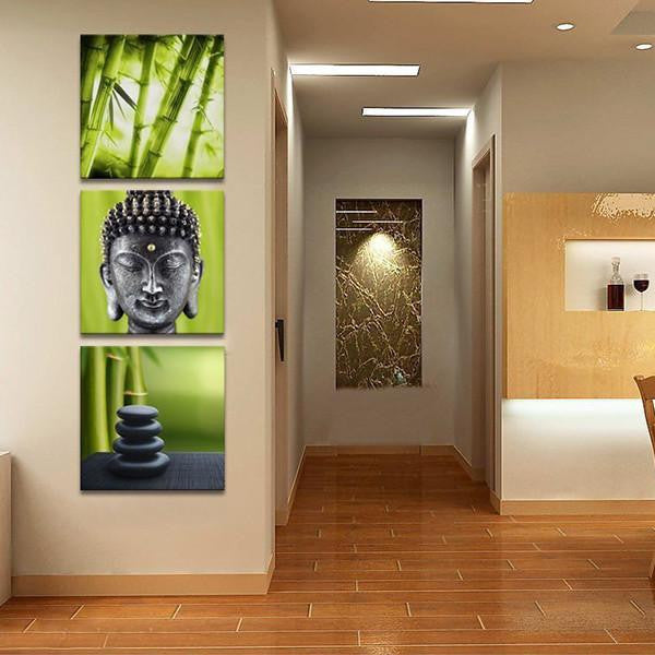 Charmant Buddha In Bamboo Forest 3 Panel Piece Art Canvas