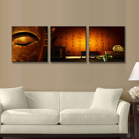 Buddha With Chinese Characters 3 Panel Wall Art Canvas ...