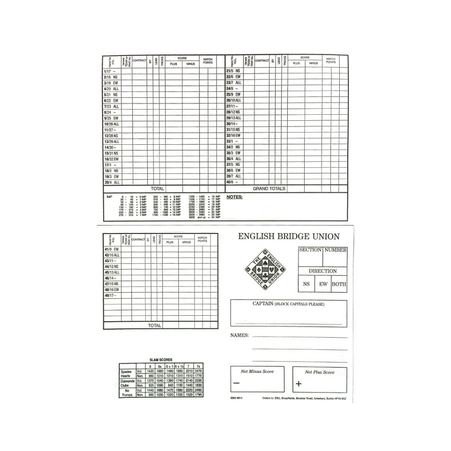 Personal Scorecards - 49 Boards