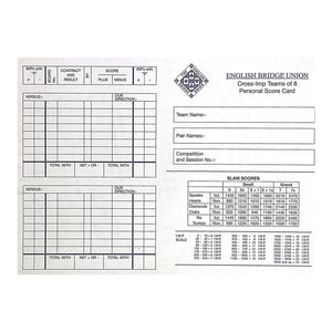Teams of 8 Cross-IMP Scorecards EBU0018