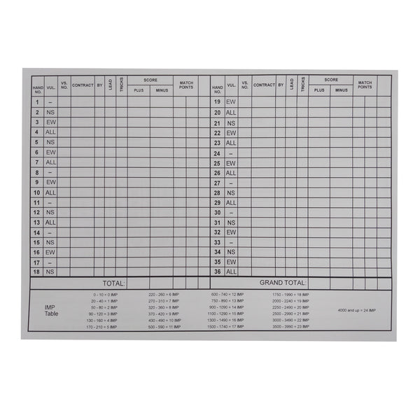 Personal Score Cards 36 Boards + Conventions EBU0021 - OFFER