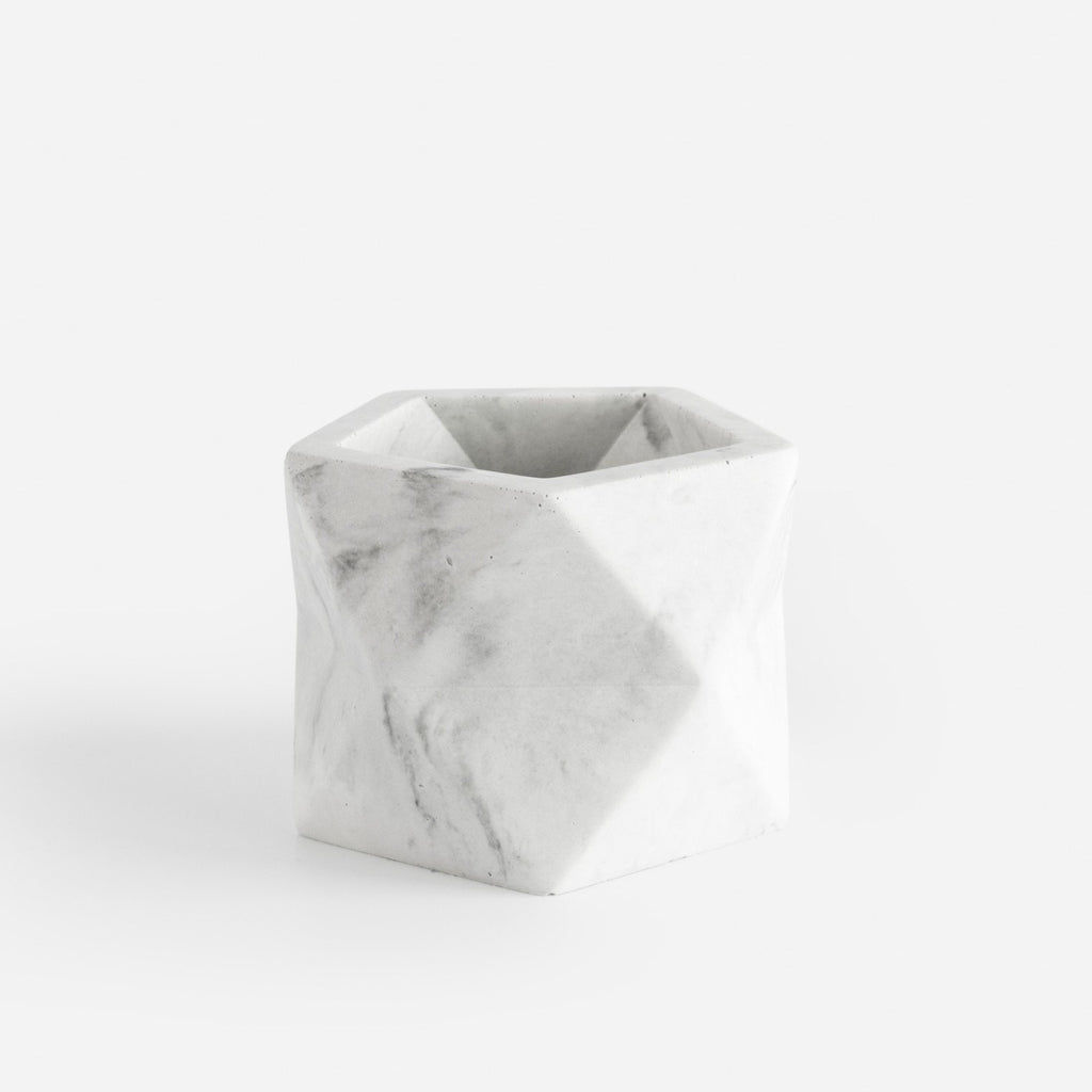 Potje 'Palua' (medium) - White Marble