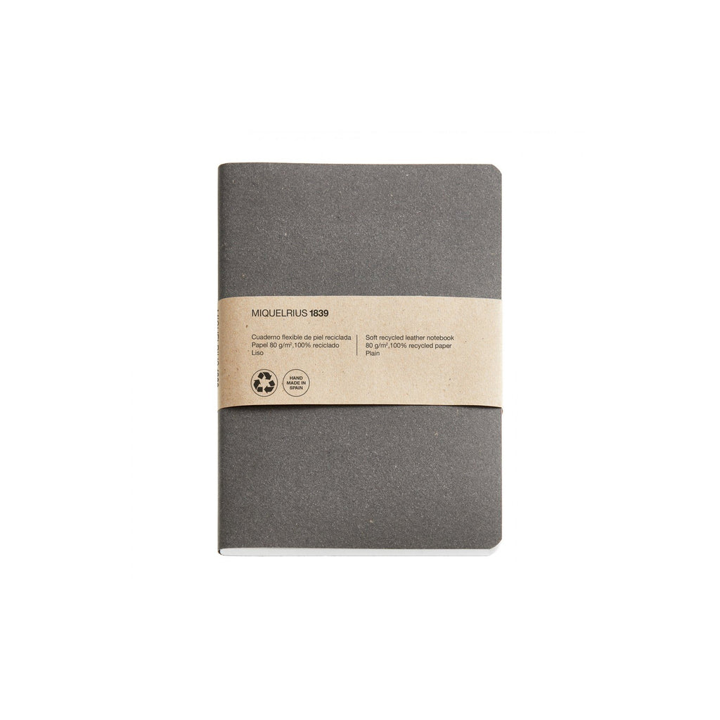 Soft Recycled Leather Notebook A6 & A5 - Antraciet