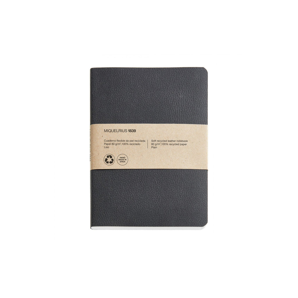 Soft Recycled Leather Notebook A6 & A5 - Black