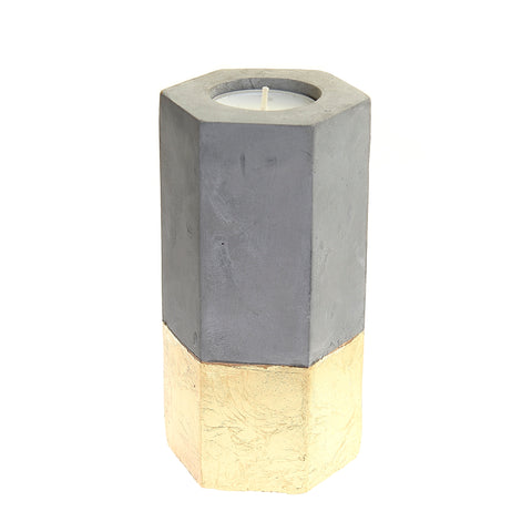 Geometric concrete tealight with gold finish
