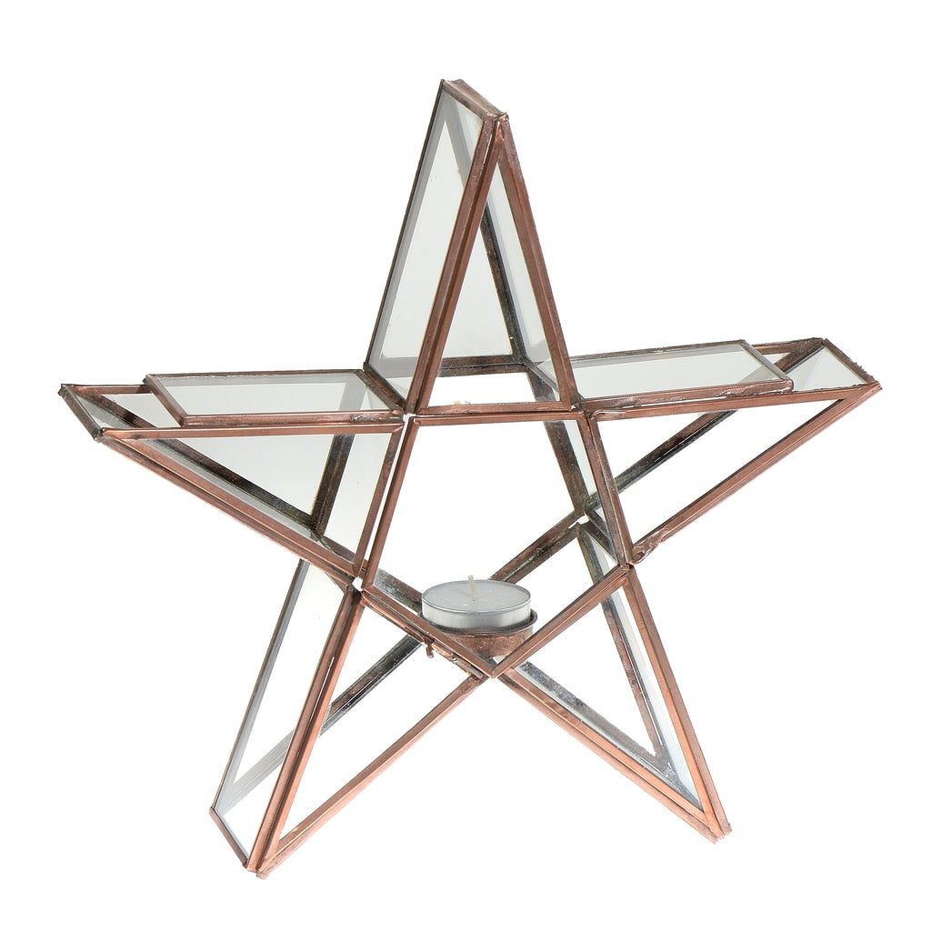 Small Standing Star tealight holder - copper