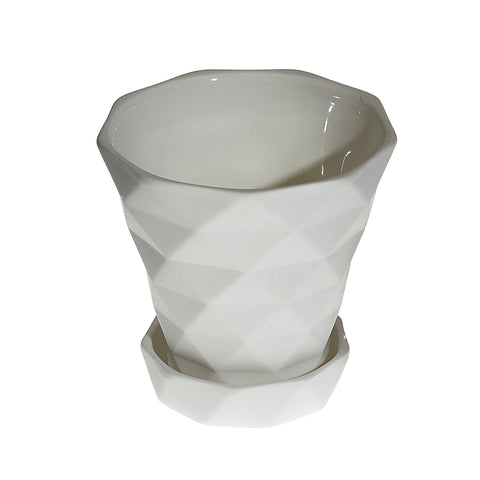 Diamond pot & saucer - white