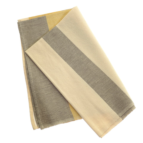 Yellow/grey stripe tea towel
