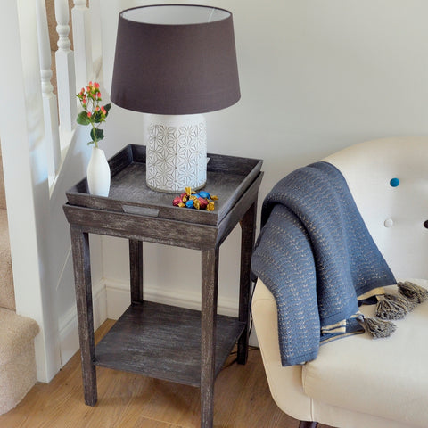 Weathered vintage mango wood tray side table