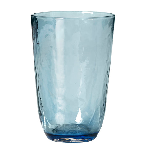 Blue hammered-effect glass tumbler