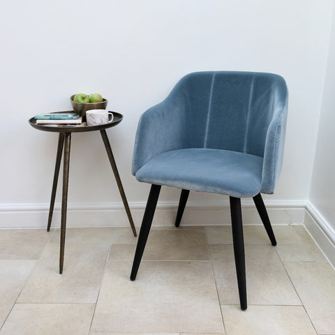 Pernille Cotton Velvet Chair Pastel Blue