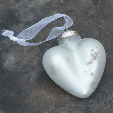 Hanging Matte Frosted white heart glass bauble